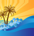 Abstract island text frame with palm trees vector image