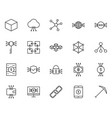 blockchain cryptocurrency line icons set vector image