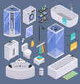 bathroom isometric set background vector image vector image