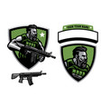 bearded soldier mascot hold assault rifle vector image