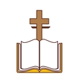 bible with cross isolated icon vector image