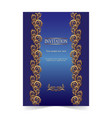 blue invitation card wedding card with ornamental vector image