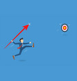businessman jumps throwing spear to target vector image vector image