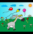 cheerful little gray donkey walks on a green vector image