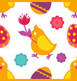 chicken with flower and painted eggs easter vector image vector image