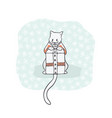 christmas kitten embroidery jumper and present box vector image