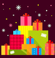 Christmas of the piles of presents on dark b vector image vector image
