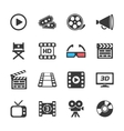 Cinema and movie icons white vector image vector image