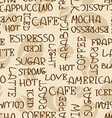 Coffee words seamless pattern vector image vector image