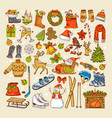 colored pictures of christmas toys and specific vector image vector image