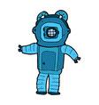 comic cartoon deep sea diver vector image vector image