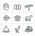 Cowboy ranch icons set vector image vector image