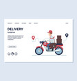 delivery banner delivery man on motorcycle vector image vector image