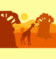 desert landscape with eagle cactus and sun vector image