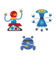 flat cartoon funny male robots set vector image