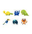 flat set different animals funny vector image vector image