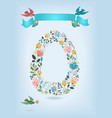 floral letter o with blue ribbon and three doves vector image vector image