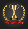 gold laurels and trophy realistic winner 3d vector image