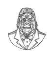 gorilla wearing tuxedo bust monoline vector image vector image