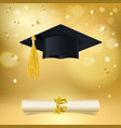 graduate cap and diploma with falling golden vector image vector image