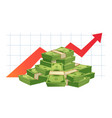 growing cash graph pile cash money value red vector image vector image