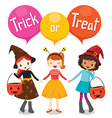 Halloween Pumpkin Bucket and Girls Holding Hands vector image vector image