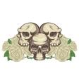 human skulls and rose vector image vector image
