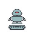 industrial robot army flat line vector image