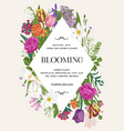 invitation with flowers rhombus vector image