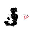 little child baby little girl is playing vector image vector image