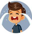 little sad boy crying cartoon character vector image