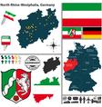 Map of North Rhine Westphalia vector image vector image