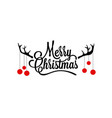 merry christmas lettering with deer horns vector image vector image