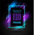 modern frame with geometric neon glowing vector image