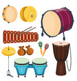 musical drum wood rhythm music instrument series vector image vector image