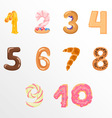Numbers like sweets and buns vector image vector image
