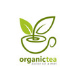 organic green tea logo vector image