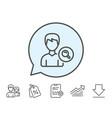 search user line icon male profile sign vector image vector image