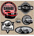 set of emblems with retro car on wall vector image vector image