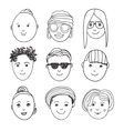 set of hand drawn people faces vector image
