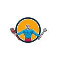 Superhero Handyman Spanner Wrench Circle Cartoon vector image vector image