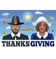 thanksgiving couple vector image vector image