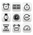 Time clock buttons set vector image vector image
