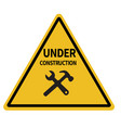 under construction triangular warning sign on vector image vector image