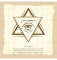 Vintage double triangle and eye sign vector image vector image