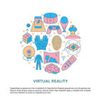virtual reality concept poster in colored line vector image vector image