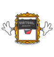 virtual reality picture frame mascot cartoon vector image