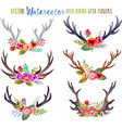 watercolor deer horns with flowers vector image vector image