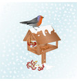 winter landscape with snow and robin bird vector image vector image