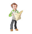 young man reading a newspaper vector image